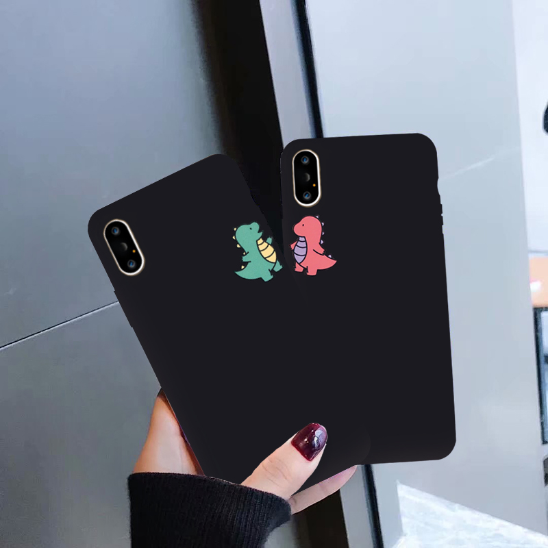 GYKZ Cartoon <font><b>Dinosaur</b></font> Phone <font><b>Case</b></font> For <font><b>iPhone</b></font> <font><b>7</b></font> X XS MAX XR 8 6 6s Plus Cute Couple Black Soft Silicone Back Cover For <font><b>iPhone</b></font> XR image
