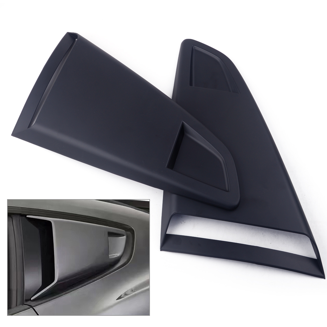Gloss Black Side Vent Window Scoop Louver Cover Trim For Ford Mustang 2015-2018
