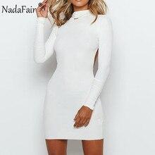 Nadafair Autumn Winter Turtleneck Long Sleeve Mini Bodycon Dress Backless Club R