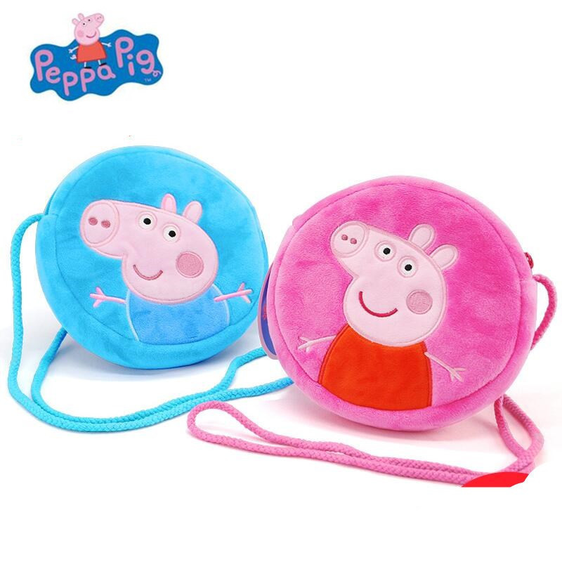 Peppa Pig Toys George Pepa Pig Cartoon Backpack Plush Stuffed Toys Child Kindergarten School Bag Wallet Bag For Kids Gift