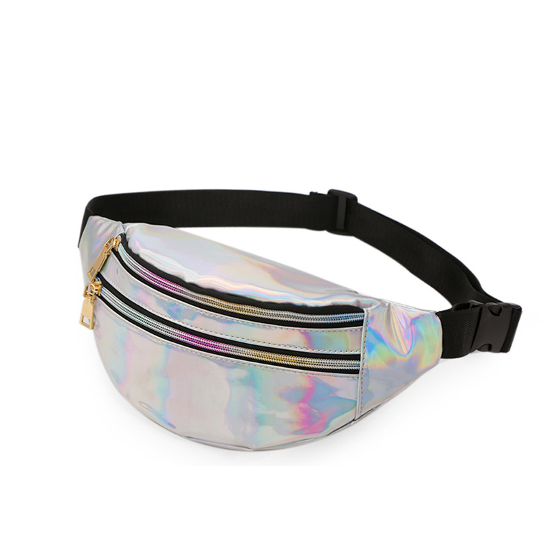 New Fashion PU Leather Waist Bag For The Belt Unisex Two Style Crack Laser Fanny Pack Wallet Key Phone Storage Purse Bum Hip Bag