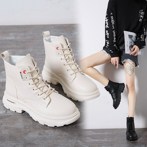 Image 1 - Nowy 2020 kobiet botki PU skórzane sznurowane jesienne buty zimowe kobieta kliny buty krótkie damskie damskie Botas SH09061