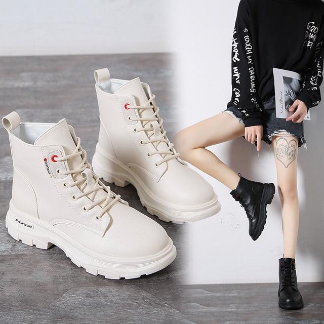 Nowy 2020 kobiet botki PU skórzane sznurowane jesienne buty zimowe kobieta kliny buty krótkie damskie damskie Botas SH09061