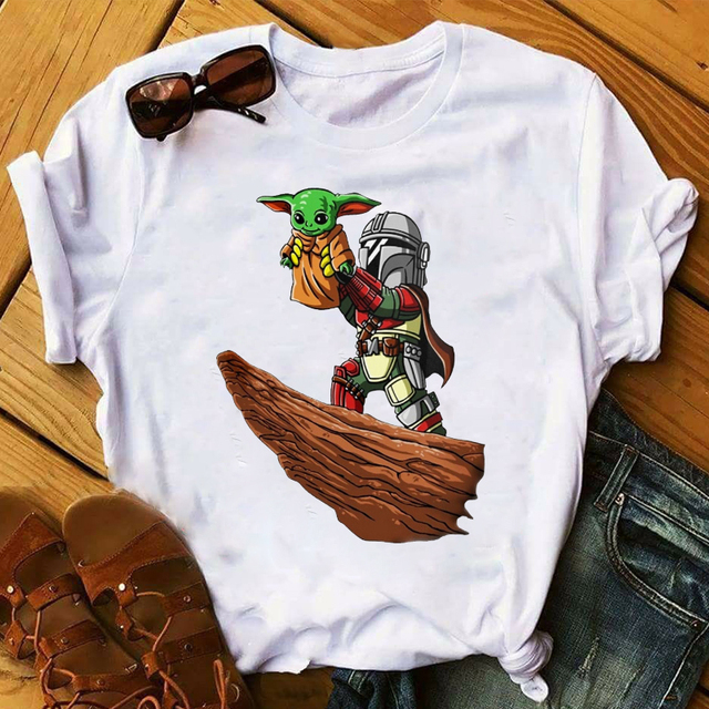 Women 2020 Cartoon Style  Baby Yoda Vacay Mode Ear Holiday Tops Clothes Graphic Tshirts Shirt Tee Top T Female Womens T-Shirt