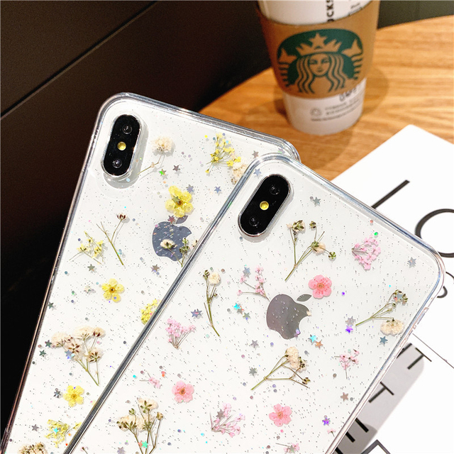 Hot Real Dry Flower Glitter Clear phone case for apple iphone 6 7 8 Plus X XS XR MAX 11 Pro 12 MiNi Epoxy Star Transparent cover 2