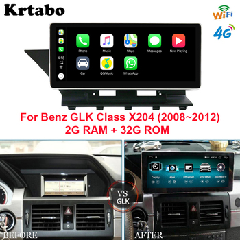 Car radio Android multimedia audio player 2G RAM For Mercedes Benz GLK X204 2008-2012 10.25 inch touch screen GPS Carplay