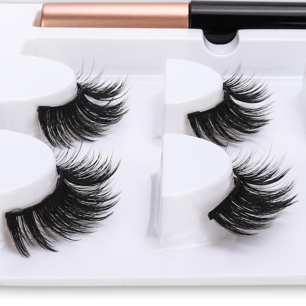 New Magnetic Fake Eyelashes Magnetic Liquid Eyeliner Natural Long 5 Magnet False Eyelashes With Tweezer set for Girl Women Gift 3