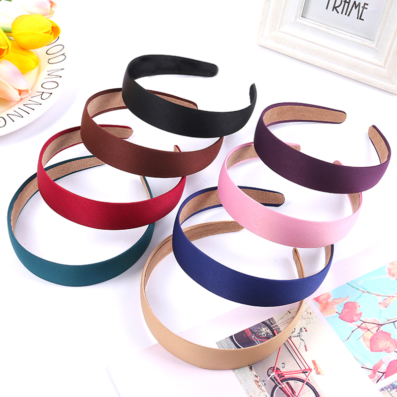 1pc 3cm Width Colorful Satin Fabric Headband Bezel Base Bow Hair Hoops Accessories For DIY Women Hair Jewelry Making Findings