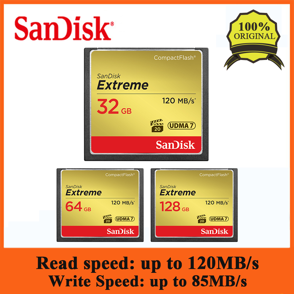 SanDisk CFXSB Extreme Compact Flash 32GB 64GB 128GB CF Card 800X VPG-20 120MB/s For Rich 4K And Full HD Video SDCFXS For Camera