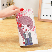 Personality creative cartoon girl casual ladies purses women wallets and printed long cute wallet PU leather clutch