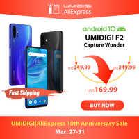 "En STOCK UMIDIGI F2 Android 10 Global bandas 6,53 ""FHD + 6GB 128GB 48MP AI Quad Cámara 32MP Selfie Helio P70 Smartphone 5150mAh NFC"
