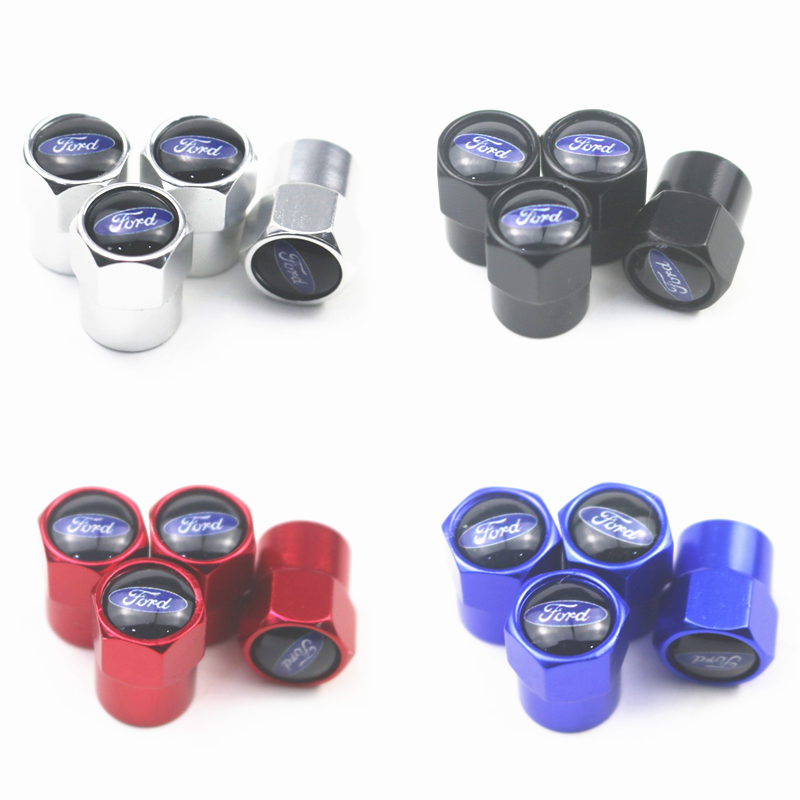 New 4PCS Auto Wheel Tire Valve Stem Caps Cover For Ford Focus 2 Focus 3 Fiesta EcoSport ESCORT Car Accessories