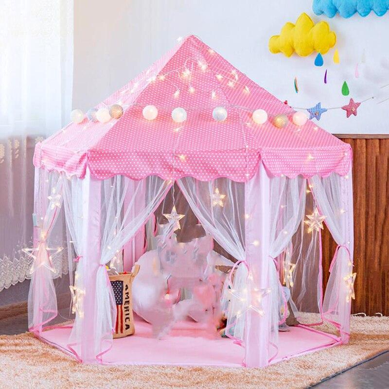 Portable Children's Tent Dry Pool Wigwam Princess Tent For Kids Girl's Castle Playhouse Outdoor Garden Kids Folding Beach Tent