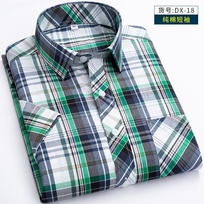 Mens Dress Shirts Short Sleeve Summer Plaid Large Man High Quality Cotton 100% Shirt For Men 7xl Plus Size S-6XL 7XL 8XL(China)