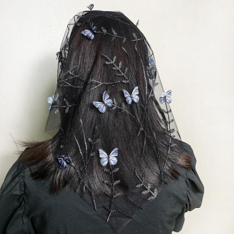women Lace head scarf shawl embroidery butterfly dragonfly flower feather hijab hair scarf With headband Catholic Mantilla Veil