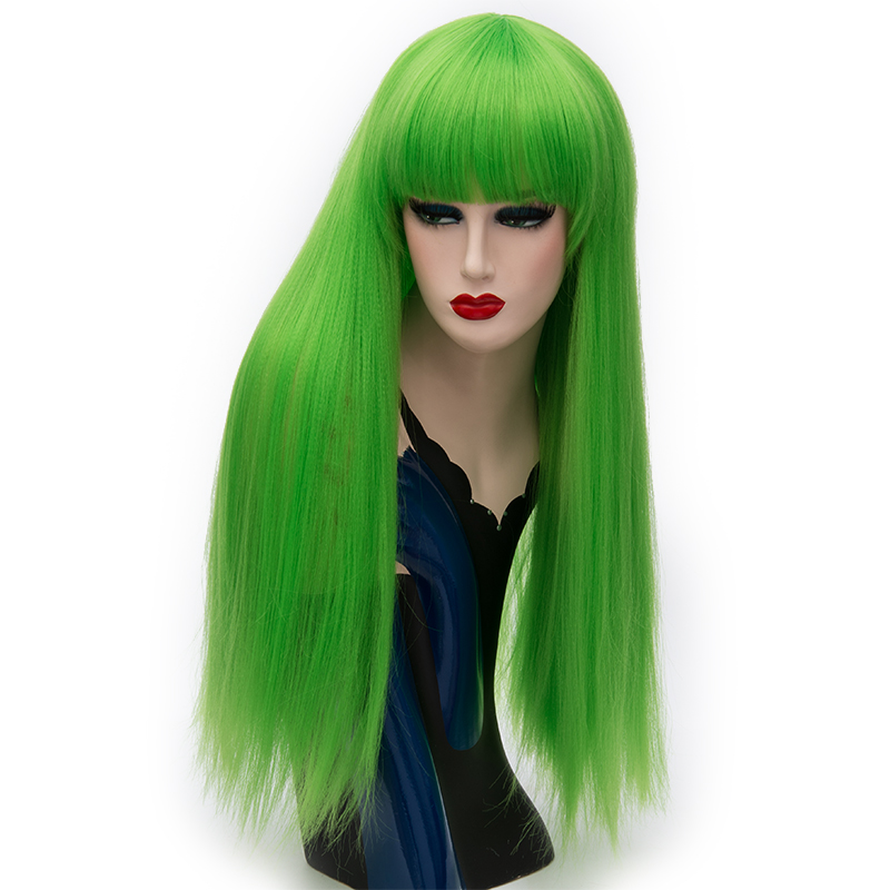 Image 4 - MSIWIGS Long Straight Bangs Red Wigs Synthetic Natural Heat Resistant Fiber Hair White Purple Green Brown Cosplay Wig FemaleSynthetic None-Lace  Wigs   -