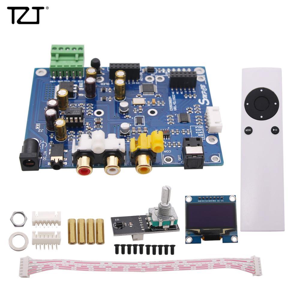 TZT ES9038Q2M DSD DAC Decoder Board Support IIS DSD 384KHz Coaxial Optical Fiber DOP Black TFT Screen
