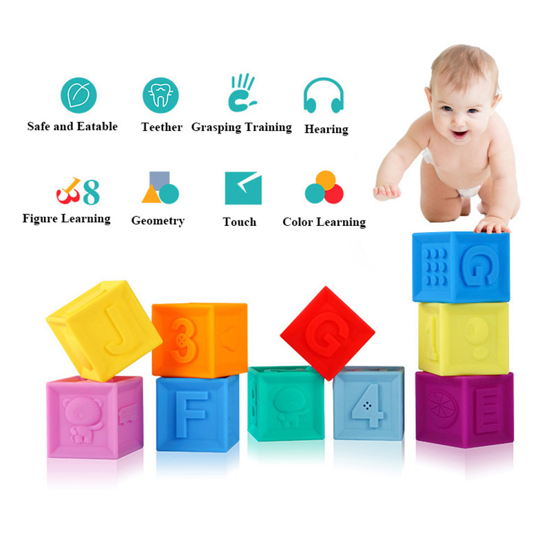 Image 2 - Silicone Blocks Baby Toys 100% Food Grade Teether Safe And Eatable Toys Cognitive Training For Infant Gift    -