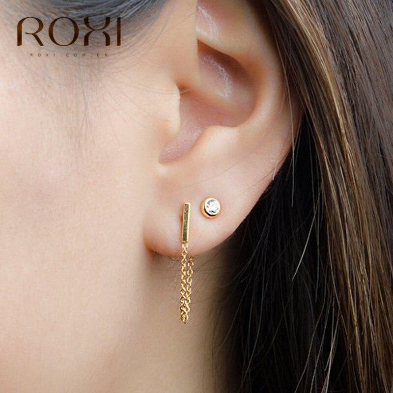 ROXI Punk Minimalist 925 Sterling Silver Stud Earring Fashion Rod Earpins Ear Plug Linked Stick Chain Earrings for Women Jewelry
