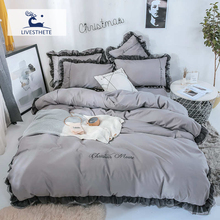Liv-Esthete 2019 Luxury Beauty Gray 100% Cotton Bedding Set Lace Printed High Quality Duvet Cover Flat Sheet Queen King