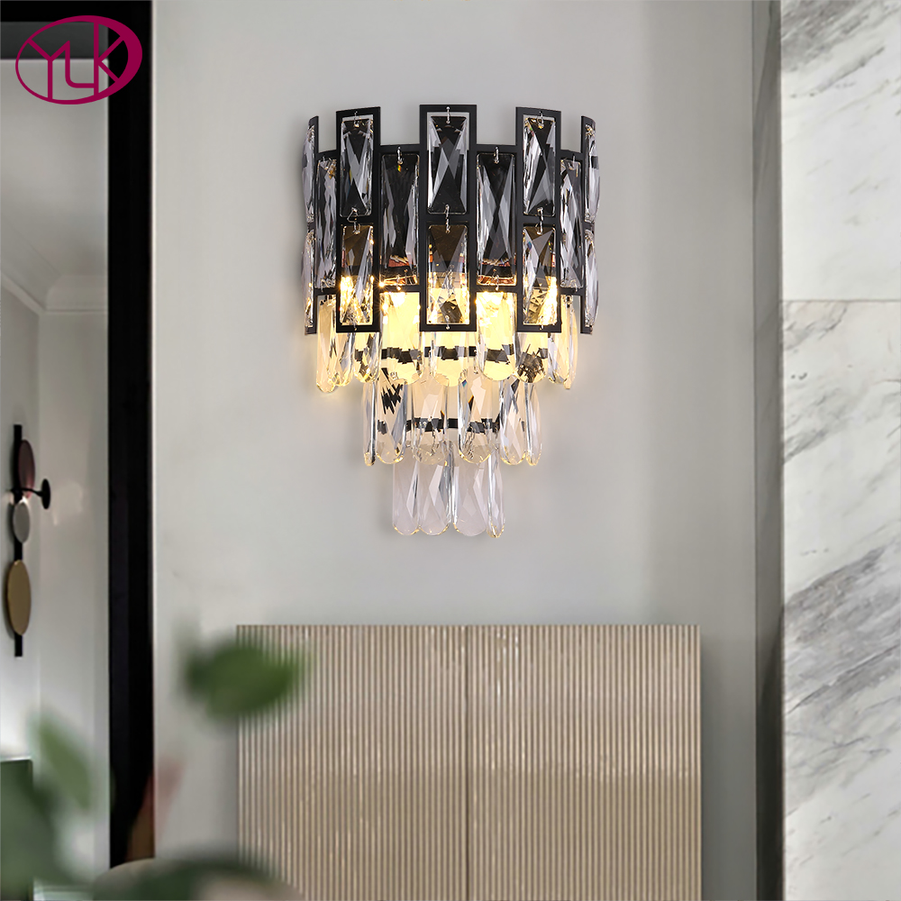 Youlaike Black Crystal Wall Lamps For Bedroom New Modern Wall Sconce Lighting Living Room Bedside Background Wall Light Fixtures