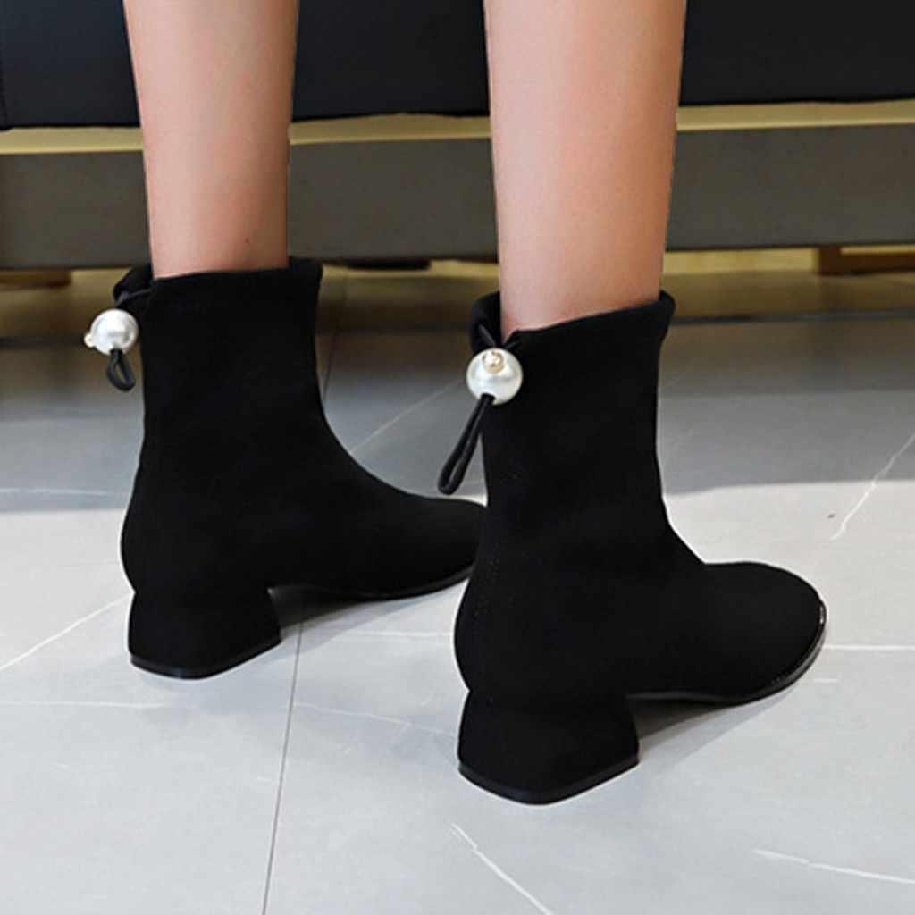 ฤดูหนาวผู้หญิงลื่นบน Stretch Casual Elegant รองเท้า Hoof Retro Retro Pearl รองเท้าสตรีรองเท้า ботинки женские รองเท้าผู้หญิง # E30