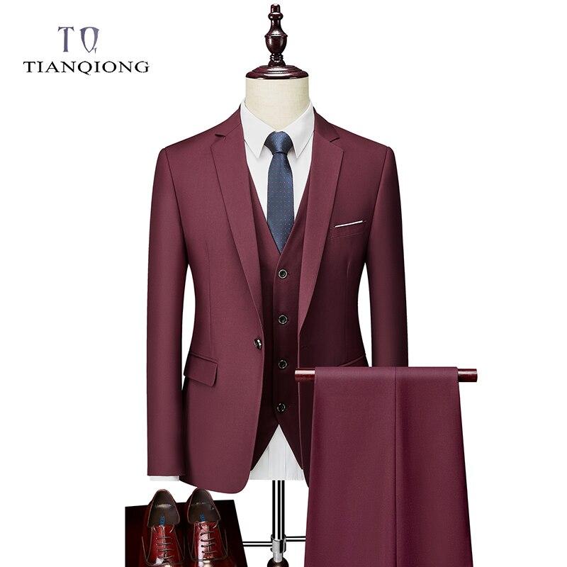 Men Suit 2020 Spring And Autumn High Quality Custom Business Suit Three-piece Slim Large Size Multi-color Suit One-button Suit