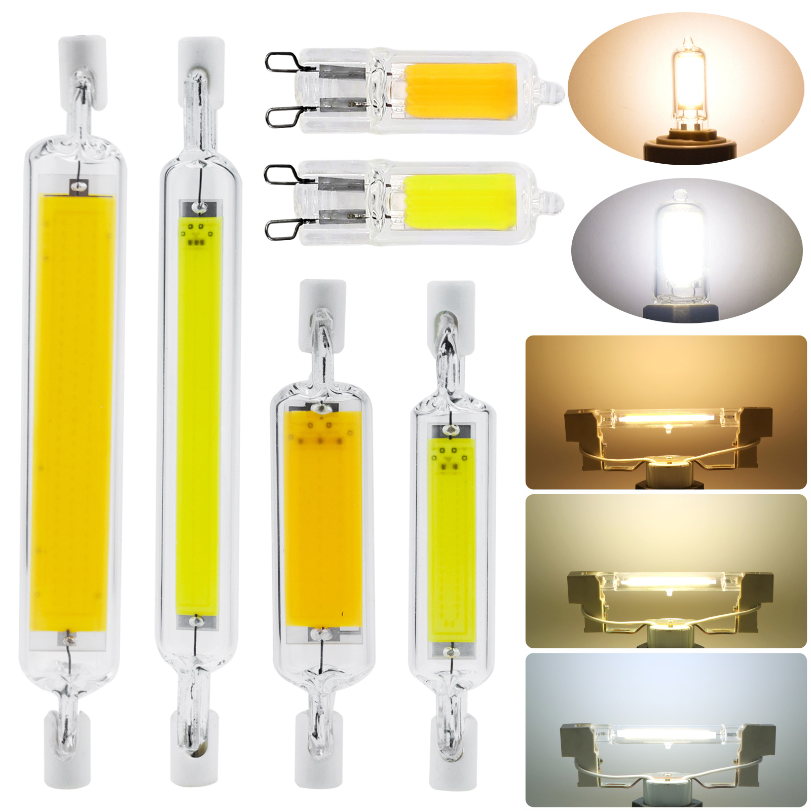 G9 R7s LED COB Light Bulbs Dimmable 78mm 118mm J-type Glass+Ceramics Replace Halogen Lamps 3W 5W 6W 12W 20W Floodlight 110V-240V