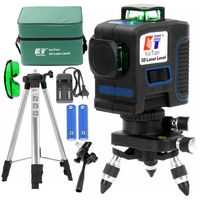 KaiTian 12 Line Laser Level Tripod 532nm Self Leveling Cross 360 Vertical&Horizontal Green Level 3D Laser Line Construction Tool