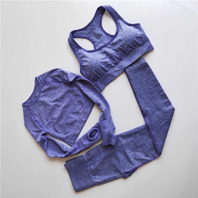 Frauen Gym Yoga Set Vital Nahtlose Leggings Sport Bh Crop Top Langarm Sport Kleidung Frauen Hohe Taille Fitness Kleidung