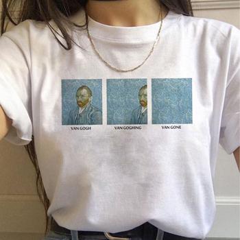 90s T-shirt w stylu Vintage modny Top Tees kobieta Vincent Van Gogh Harajuku estetyczne t-shirty kobiety obraz olejny Ullzang śmieszny T-shirt tanie i dobre opinie Northern Light COTTON Modalne Topy Krótki REGULAR VELOUR Drukuj WOMEN NONE Na co dzień O-neck camiseta mujer gothic