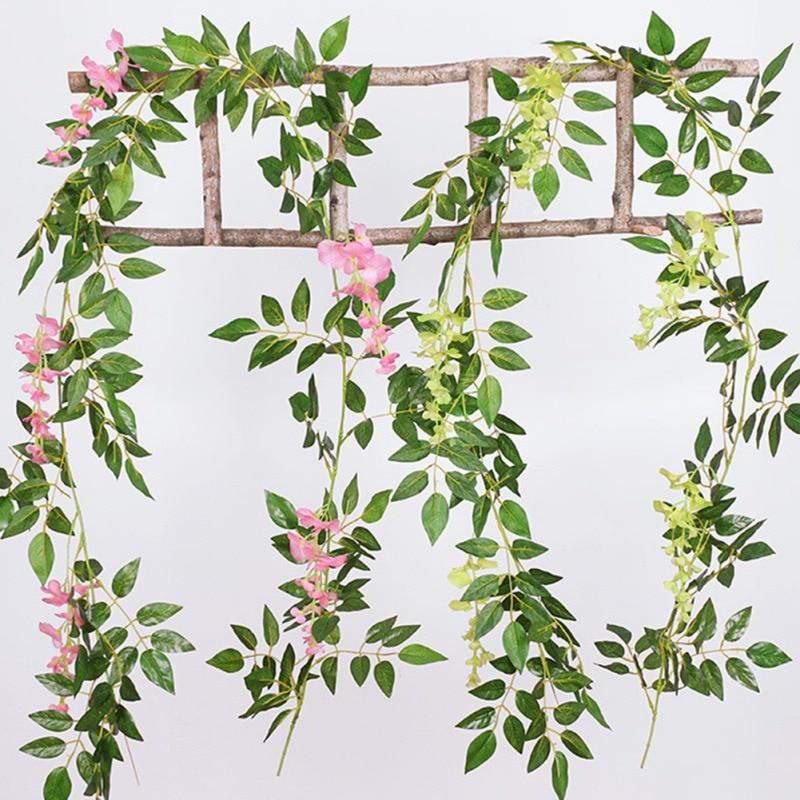 2M Wisteria Artificial Flowers Vine Wall Ivy Faux Trailing Rattan Foliage Plants