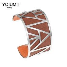 Cremo Fashion Bangles for Women Jewelry Yoiumit Stainless Steel Bracelet Silver Color DIY  Leather Reversible Love Cuff Bangle mens love knot bangle stainless steel antique silver color knot twisted cuff bracelet unisex men jewelry pulseira braslet