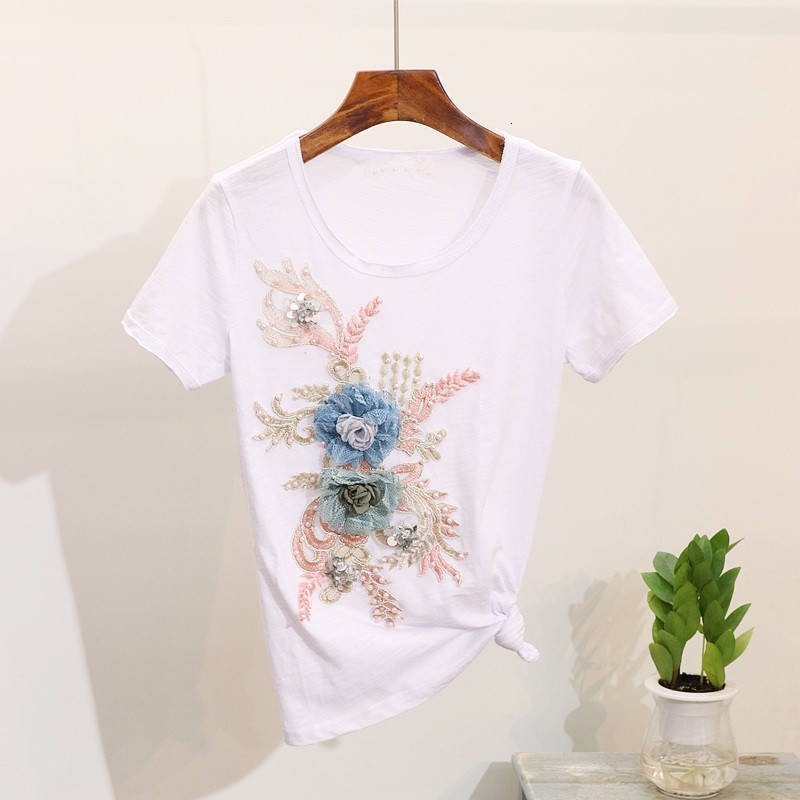 Fashion Summer Flower Embroidery Short Sleeve T-shirt Two Piece Set Beads Jeans Pencil Pants Ensemble Femme Casual Outfit Sets