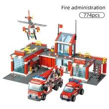 774/300 قطعة نموذج محطة إطفاء المدينة مكعبات بناء متوافقة مع رجال الاطفاء شاحنة تنوير الطوب لعب الأطفال
