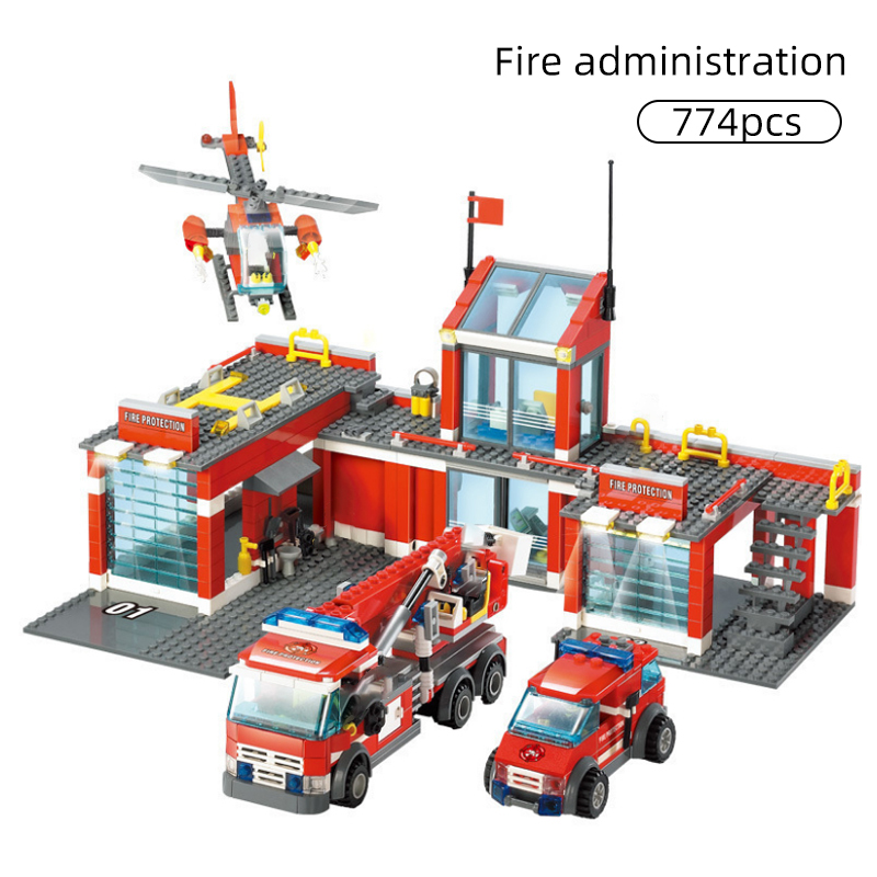 774pcs City Fire Station Model Building Blocks Car Helicopter Construction Firefighter Man Truck Enlighten Bricks Toys Children