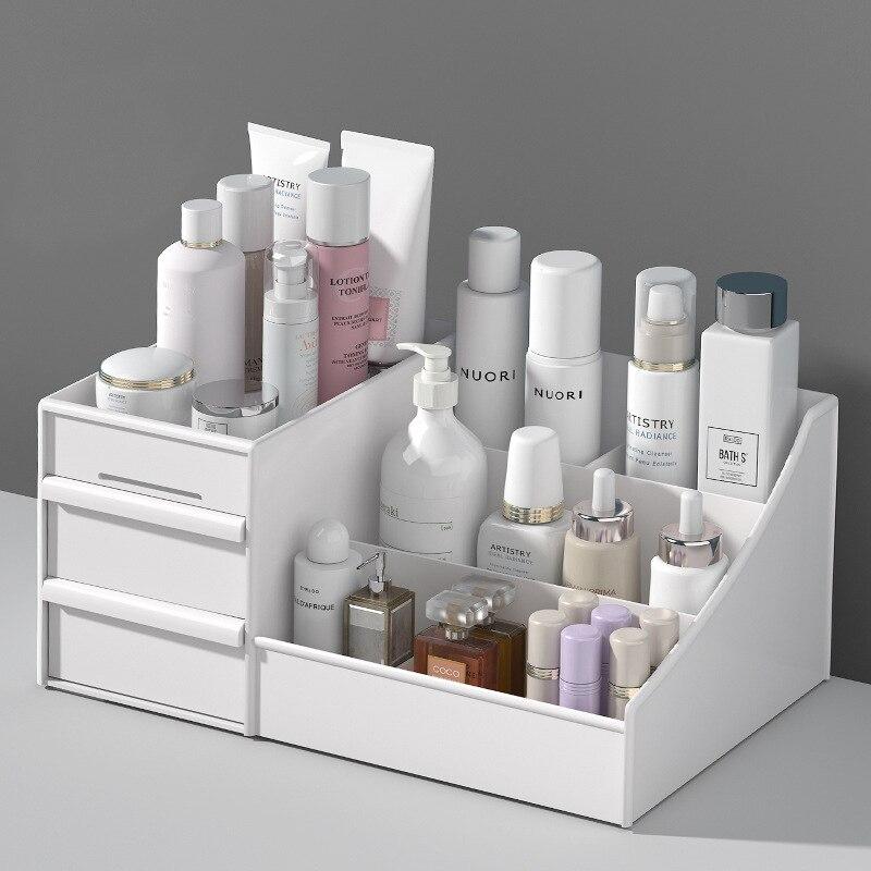 Caixa de armazenamento de cosméticos dormitório organizando caixa de skincare caso desktop cômoda facemask batom prateleira de plástico maquiagem gaveta caixa