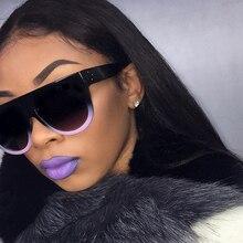 2019 Fashion Ladies Big Frame Cat Eye Sunglasses Woman Flat Top Mirror Sun Glasses French brand Design Tom Female Oculos UV400
