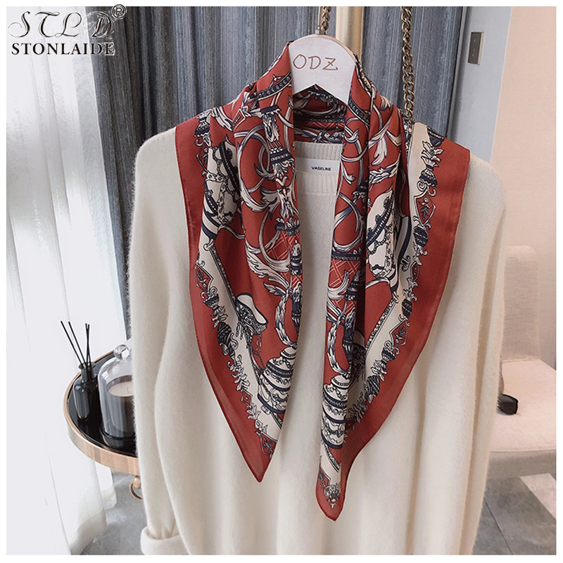 NEW Design Scarf For Women Chain Horse Printed Foulard Animal Desigual Small Shawl Luxury Brand Satin Square Scarf For Laidies