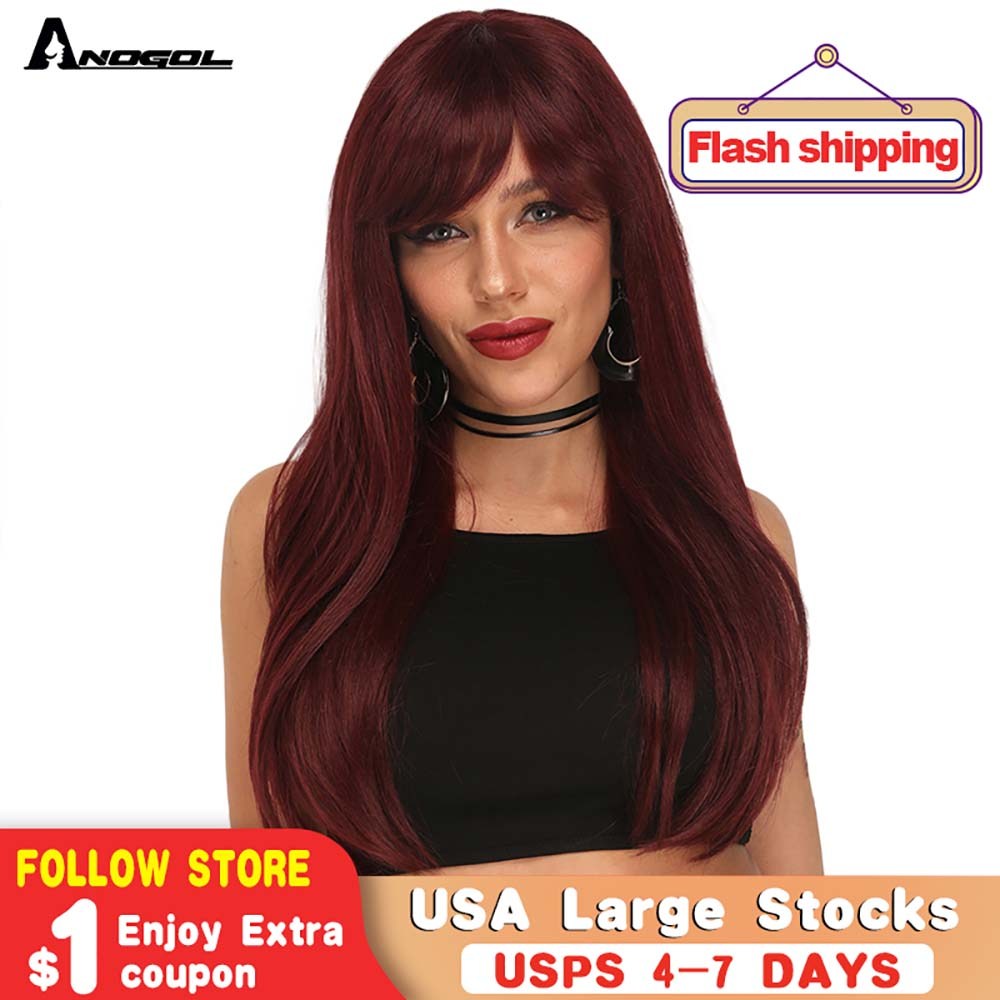 Anogol Long Straight Wine Red Black Gray Wig With Side Bang For Women Natural Soft Heat Resistant Synthetic Futura Hair Wig