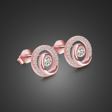 OL style silver earrings girl 925 sterling material rose gold round solid not allergic bijoux