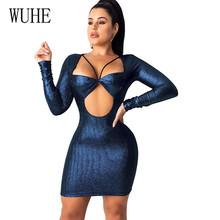 WUHE Sexy Hollow Out Bandage Dress New Arrivals Bodycon Long Sleeve Woman Night Club Robe Ladies Slim Mini Dresses