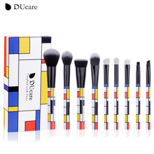 DUcare 9 PCS Makeup Brushes Kabuki Foundation Eyeshadow Blending Powder Brush Goat Hair Make Up Brushes Cosmetic Tools Set цены онлайн