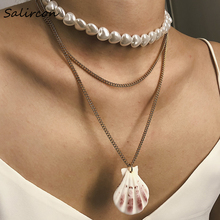 Salircon Elegant Imitation Pearl Heart Necklace Glamour Alloy Aluminum Chain Lucky Scallop Pendant Jewelry Woman Party