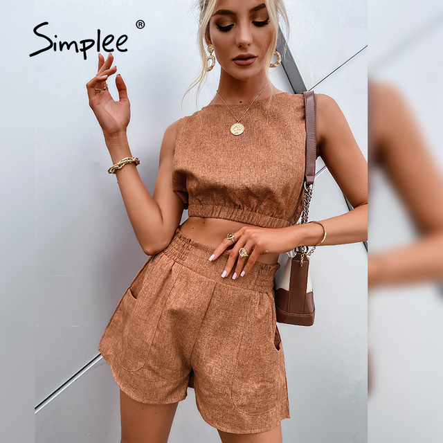 Simplee Casual Brown Women's Two-piece Suits High Street Solid Sleeveless Short Top Shorts Sets Summer Office Ladies Suits 2021 4