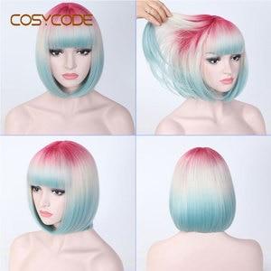 Image 2 - Cosycode ombre 3 tom bob peruca com franja 12 polegada curta reta peruca sintética para as mulheres rosa bege azul 3 cores misturadas cosplay