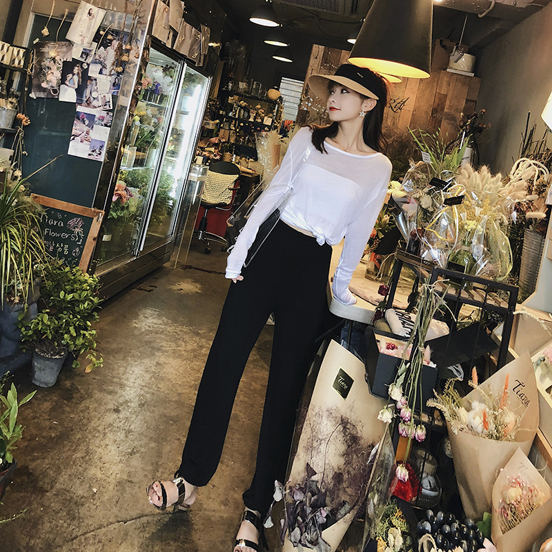 [Dowisi] 2018 Early Autumn New Style Solid Color College Style Casual Pants High-waisted Straight-leg Pants Two-Piece Set F5148