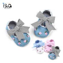 B&G Bow Princess Walking Shoes Girl Embroidered Pink Anti-slip Baby Toddler Shoes Soft Cotton First Walkers
