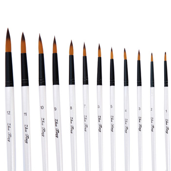 12pcs Nylon Hair Wooden Handle Watercolor Paint Brush Pen Set For Learning Diy Oil Acrylic Painting Art Paint Brushes Supplies wool hair wooden handle watercolor paint brush pen set for learning oil acrylic painting art paint brushes supplies