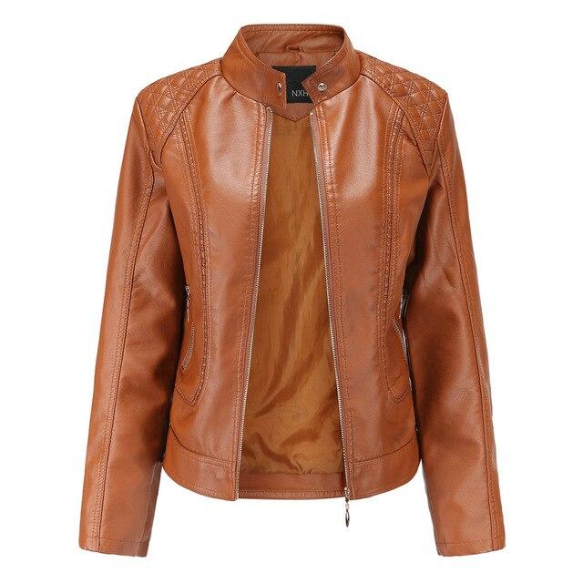 Модная кожаная женская куртка на молнии из искусственной кожи высокого качества 5